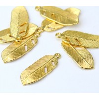 24x9mm Small Feather Charms, Gold Tone, Pack of 10