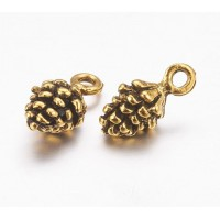 13mm Small Pine Cone Charms, Antique Gold, Pack of 10