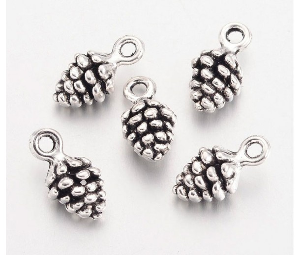 13mm Small Pine Cone Charms, Antique Silver, Pack of 10