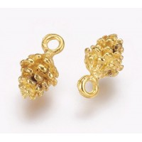 13mm Small Pine Cone Charms, Gold Tone, Pack of 10