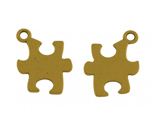 14mm Autism Puzzle Charms, Antique Gold, Pack of 5