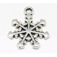 20mm Medieval Snowflake Charms, Antique Silver, Pack of 5
