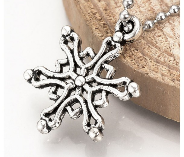 20mm Celtic Snowflake Charms, Antique Silver, Pack of 5