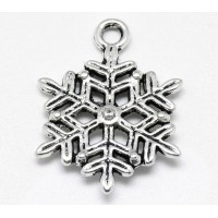 22mm Full Snowflake Charms, Antique Silver, Pack of 5