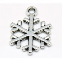 20mm Simple Snowflake Charms, Antique Silver, Pack of 5