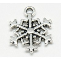 18mm Floral Snowflake Charms, Antique Silver, Pack of 5