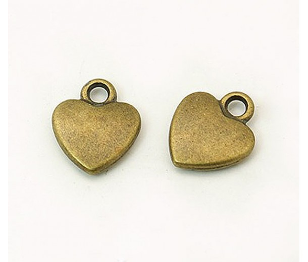12mm Simple Heart Charms, Antique Brass, Pack of 10