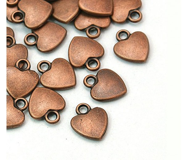 12mm Simple Heart Charms, Antique Copper, Pack of 10