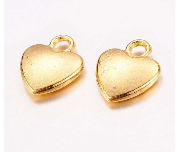 12mm Simple Heart Charms, Gold Tone, Pack of 10