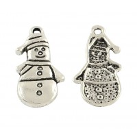 25mm Snowman Charm, Antique Silver, 1 Piece