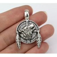 38mm Howling Wolf Pendant, Antique Silver, 1 Piece