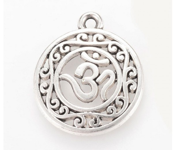 22mm Ornate Om Charm, Antique Silver, 1 Piece