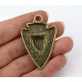 44mm Arrowhead with Wolf Pendant, Antique Brass, 1 Piece