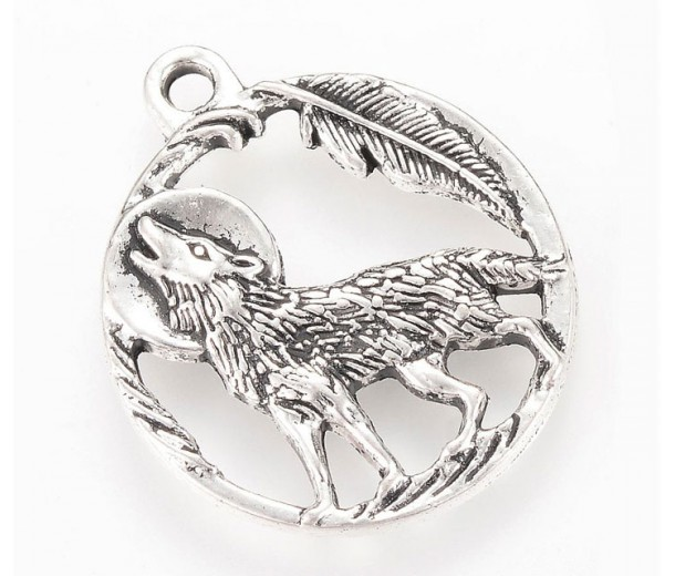 25mm Howling Wolf Charm, Antique Silver, 1 Piece