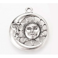 30mm Sun and Moon Pendant, Antique Silver, 1 Piece
