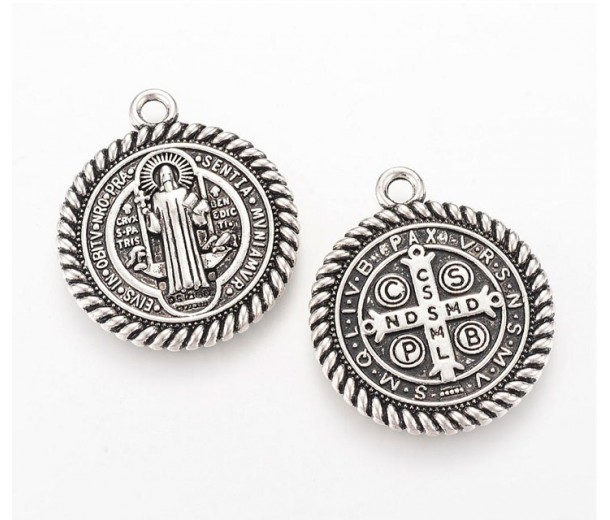 30mm St Benedict Medal Pendant, Antique Silver, 1 Piece