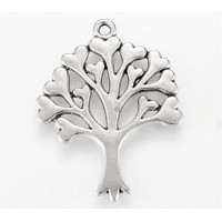33mm Love Tree Pendant, Antique Silver, 1 Piece