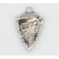44mm Arrowhead with Wolf Pendant, Antique Silver, 1 Piece