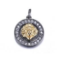 15mm Lion Head Medallion Pave Charm, Gunmetal and Gold Tone