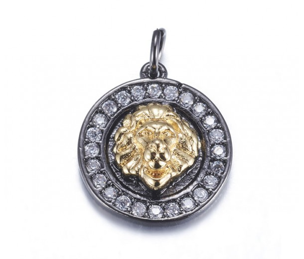 15mm Lion Head Medallion Pave Charm, Gunmetal and Gold Tone, 1 Piece