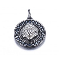15mm Lion Head Medallion Pave Charm, Gunmetal and Rhodium
