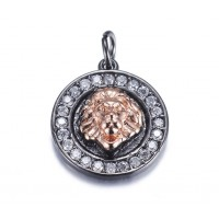 15mm Lion Head Medallion Pave Charm, Gunmetal and Rose Gold Tone