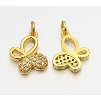 14mm Butterfly Cubic Zirconia Charm, Gold Tone
