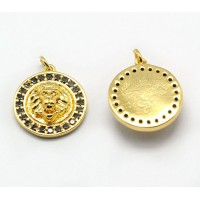 15mm Lion Head Medallion Pave Charm, Gold Tone, 1 Piece