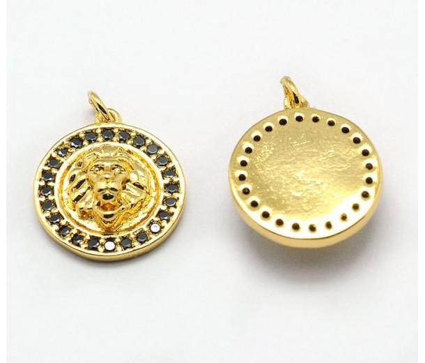15mm Lion Head Medallion Pave Charm, Gold Tone, 1 Piece