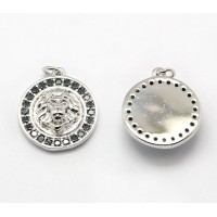 15mm Lion Head Medallion Pave Charm, Rhodium Finish