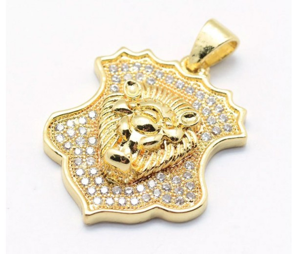 22mm Shield with a Lion's Head Pave Charm, Gold Plated