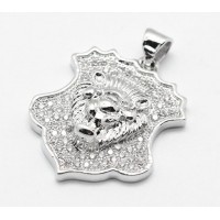 22mm Shield with a Lion's Head Pave Charm, Rhodium Plated