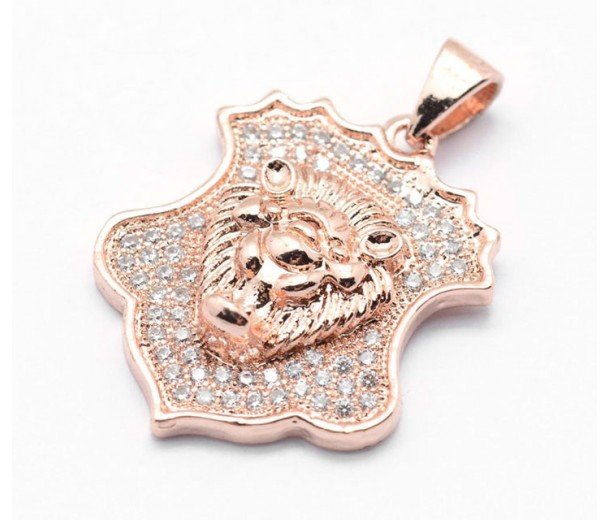 22mm Shield with a Lion's Head Pave Charm, Rose Gold