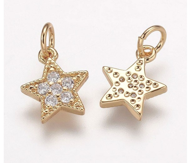 9mm Tiny Star Cubic Zirconia Charm, Gold Plated