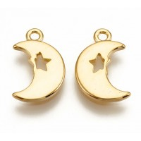 12mm Crescent Moon with Star Charm, Gold Plated, 1 Piece
