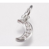 9mm Tiny Crescent Moon Cubic Zirconia Charm, Rhodium Plated