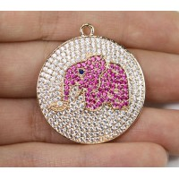 30mm Pink Elephant Cubic Zirconia Charm, Gold Tone