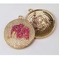 30mm Pink Elephant Cubic Zirconia Charm, Gold Tone