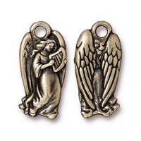 23mm Christmas Angel Charm by TierraCast, Antique Brass, 1 Piece