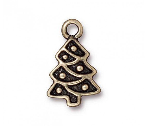 20mm Christmas Tree Charm by TierraCast, Antique Brass, 1 Piece