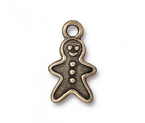 19mm Gingerbread Man Charm by TierraCast, Antique Brass