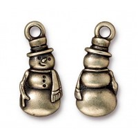 23mm Frosty The Snowman Charm by TierraCast, Antique Brass, 1 Piece