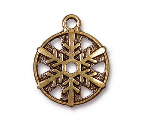 24mm Snowflake Charm by TierraCast, Antique Gold