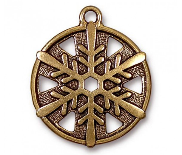 28mm Snowflake Charm by TierraCast, Antique Gold