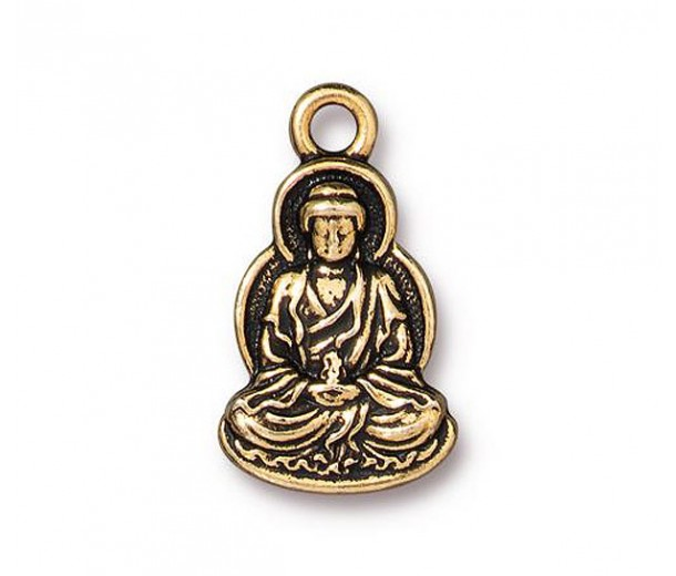21mm Buddha Charm by TierraCast, Antique Gold