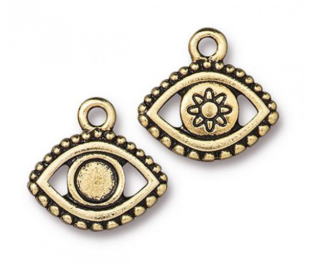 16mm Ornate Evil Eye Charm by TierraCast, Antique Gold, 1 Piece