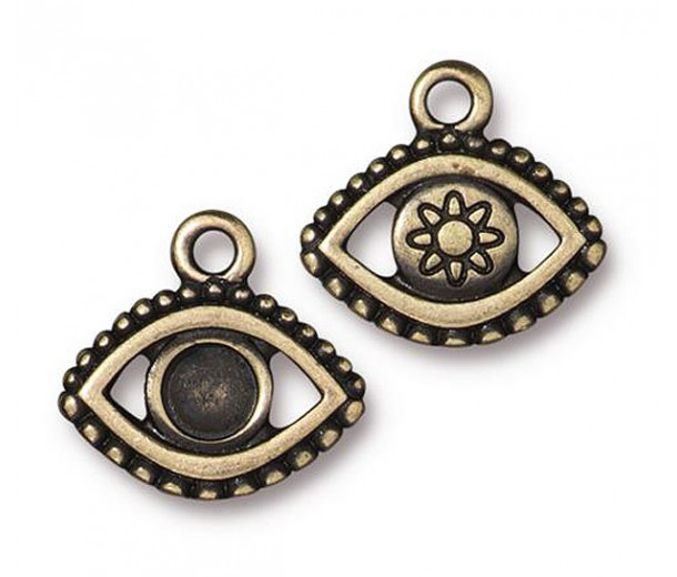 16mm Ornate Evil Eye Charm by TierraCast, Antique Brass, 1 Piece