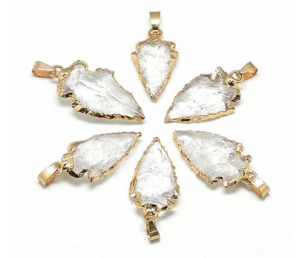 Arrowhead Pendant, Quartz Crystal, 25-50mm
