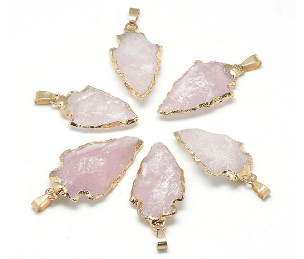 Arrowhead Pendant, Rose Quartz, 25-50mm