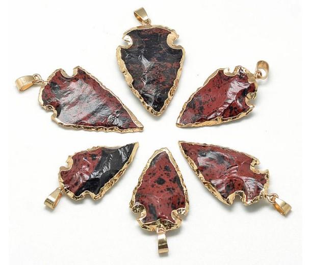Arrowhead Pendant, Mahogany Obsidian, 25-50mm
